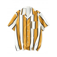 Color Block Stripes Print Casual Shirt - Golden Brown M