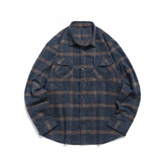 Plaid Print Button Up Double Pocket Shirt - Marble Blue L