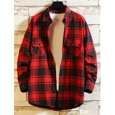 Chest Pocket Plaid High Low Button Shirt - Red L