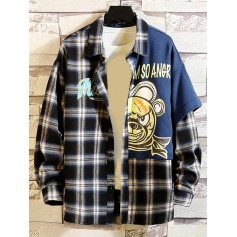 Cartoon Angry Bear Letter Spliced Patchwork Plaid Button Shirt - Black L