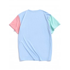 Paneled Color Block Short Sleeves T-shirt - Day Sky Blue Xl
