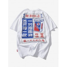 Chinese Characters Graphic Print Round Neck T-shirt - White L