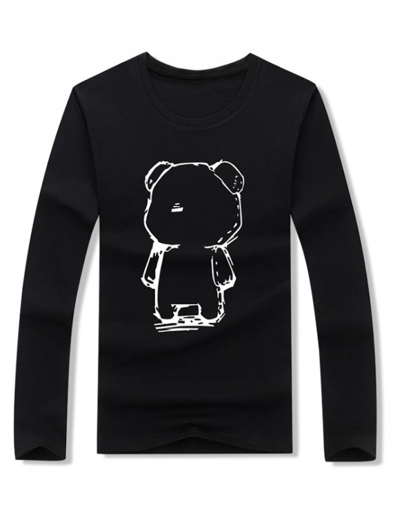 Abstract Cartoon Bear Drawing Print Long Sleeve T-shirt - Black M