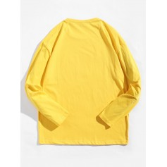 Cartoon Character Letter Graphic Print Long Sleeve Tee - Yellow Xs