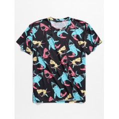 Short Sleeves Allover Shark Print T-shirt - Black 2xl