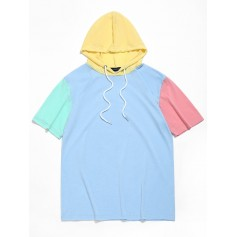 Color Block Panel Hooded T-shirt - Day Sky Blue Xl