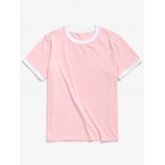 Casual Short Sleeve Ringer T-shirt - Pig Pink L