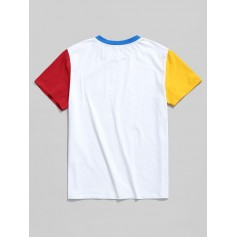 Short Sleeve Color Block Basic Tee - White L