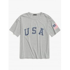 USA Letter American Flag Print Casual T-shirt - Light Gray 2xl