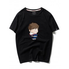 Cartoon Boy Print Short Sleeves T-shirt - Black L
