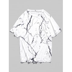 Marble Grain Print Short Sleeves T-shirt - Natural White L