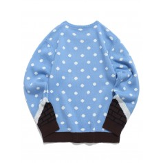 Santa Claus Pattern Full Sleeves Sweater - Day Sky Blue M