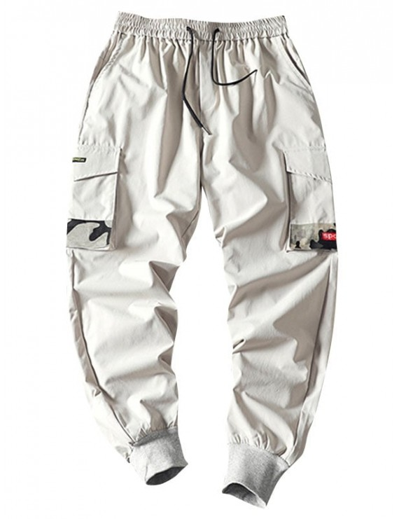 Camouflage Patched Pockets Drawstring Cargo Pants - Light Gray 2xl