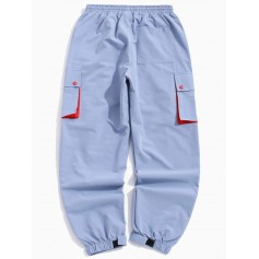 Color Block Splicing Applique Multi-pocket Jogger Pants - Light Blue L