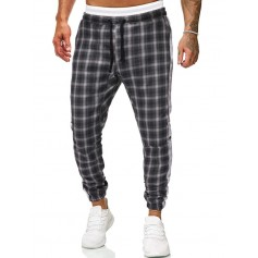 Contrast Trim Plaid Drawstring Jogger Pants - Black Xs