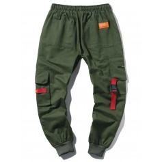 Applique Long Cargo Jogger Pants - Army Green S