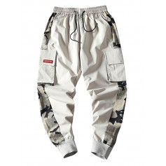Camouflage Print Splicing Applique Flap Pocket Jogger Pants - Light Gray S