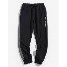 Color Spliced Letter Printed Jogger Pants - Black L
