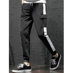 Colorblock Spliced Flap Pocket Sport Jogger Pants - Black Xs