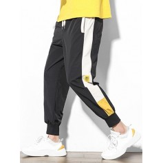 Color Block Splicing Applique Casual Jogger Pants - Black S