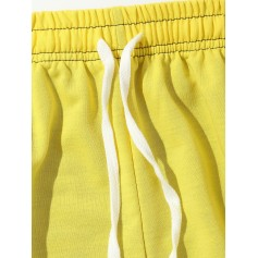 Color Block Hem Zipper Track Pants - Yellow M