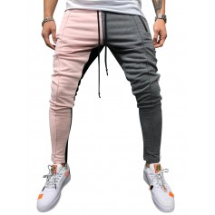 Color Block Pockets Drawstring Slim Fit Track Pants - Light Pink M
