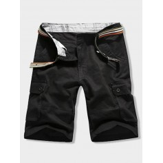 Button Flap Pocket Solid Color Zipper Fly Shorts - Black 32