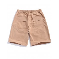 Applique Flap Pocket Color Block Spliced Shorts - Camel Brown M