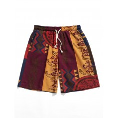 Allover Tribal Print Drawstring Board Shorts - Multi L