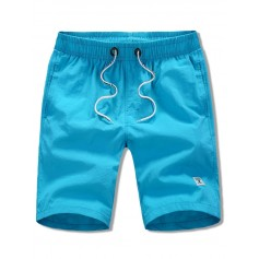 Appliques Solid Color Drawstring Beach Shorts - Blue Xs