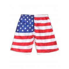 American Flag Eagle Print Drawstring Board Shorts - White L