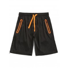Color Block Panel Zipper Pocket Shorts - Bright Orange M