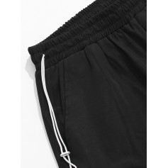 Detachable Pocket Elastic Casual Shorts - Black M