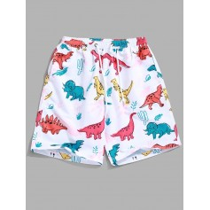 Animal Dinosaur Plant Print Hawaii Beach Shorts - White Xl