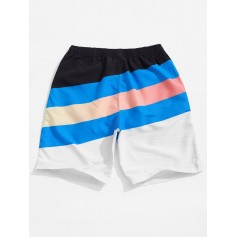 Color Block Splicing Stripes Print Board Shorts - Multi L