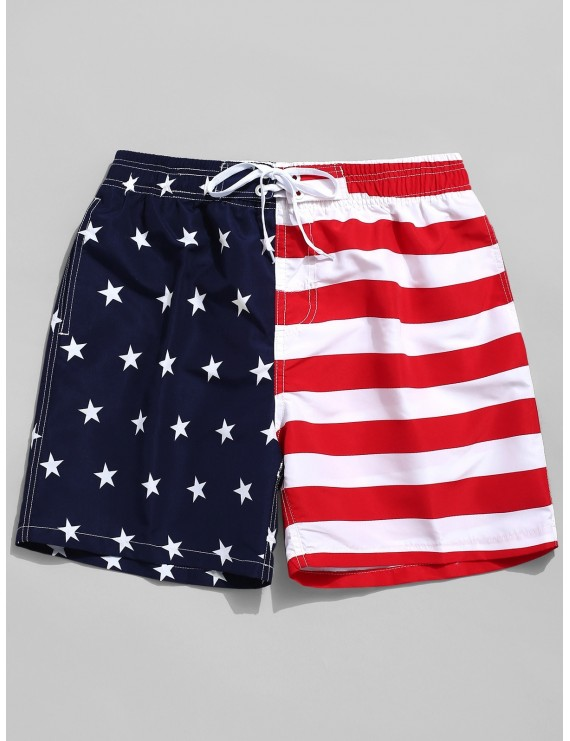 American Flag Print Casual Board Shorts - Red S