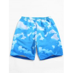 Blue Sky Cloud Print Beach Casual Shorts - Deep Sky Blue M