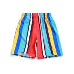 Colorful Striped Print Board Shorts - Blue Zircon Xl