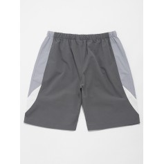 Color Block Splicing Drawstring Casual Shorts - Blue Gray S