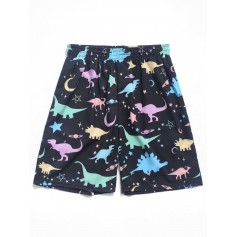 Dinosaur Moon And Star Print Board Shorts - Black Xl