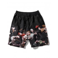 Crowded People Print Drawstring Beach Shorts - Black Xl