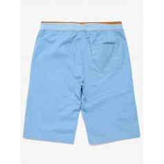 Contrast Color Drawstring Elastic Shorts - Light Blue Xs
