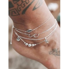 4PCS Shell Starfish Beads Chain Anklets - Silver