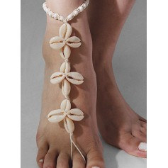 Beach Natural Shell Toe Ring Anklet - White