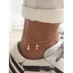 Angle Pineapple Design Chain Anklets - Gold