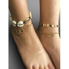4Pcs Stars Shell Design Anklets - Gold
