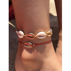 2Pcs Shell Alloy Anklet Set - Gold