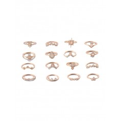 16PCS Water Drop Rhinestone Octagon Rings - Gold