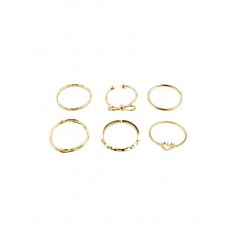 6Pcs Heart Bowknot Hollow Joint Ring Set - Gold