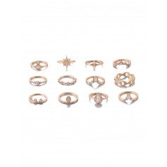 12-piece Teardrop Diamante Ring Set - Gold
